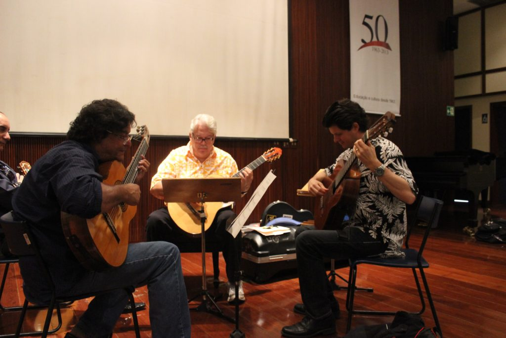 Brazilian Guitarist Jaime Ernest Dias (left), Keola Beamer & Jeff Peterson Rehearsing for a Concert in Brazil