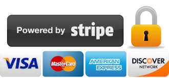 stripe and other payment types accepted such as visa, mastercard, and american express